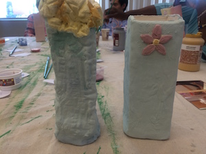 Glazing our Totem Vases
